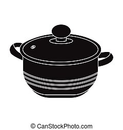 Stockpot icon in black style isolated on white background....
