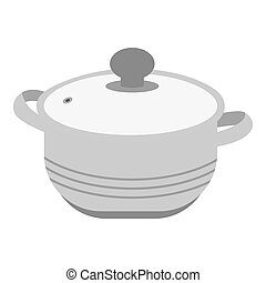Stockpot icon in monochrome style isolated on white...