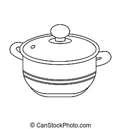 Stockpot icon in outline style isolated on white background. Kitchen symbol stock vector illustration.