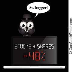 Stocks and Shares - Comical businessman worried about a...