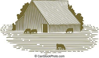 stodoła, drzeworyt, bydło