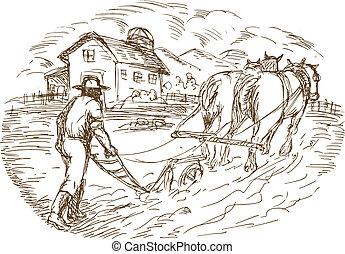 stodoła, rolnik, plowing, koń, pole, dom farmera