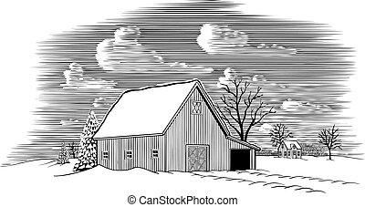 stodoła, scena, zima