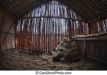stodoła, stary, zapasy, ostatni, siano