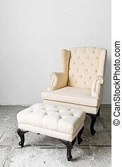 stoel, beige, retro