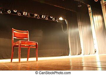 stoel, op, lege, theater, toneel
