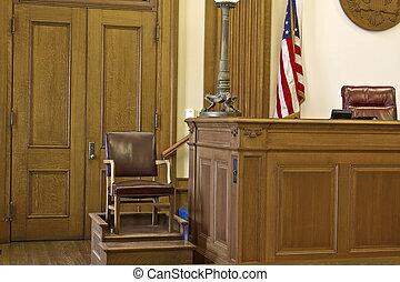 stoel, rechtszaal, getuige, stander