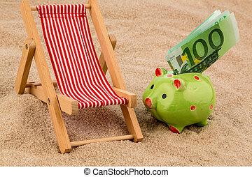 stoel, rekening, strand, eurobiljet