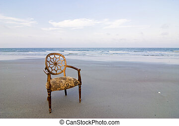 stoel, strand, sierlijk