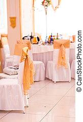 stoel, trouwfeest, zettende tafel, het fijne dineren