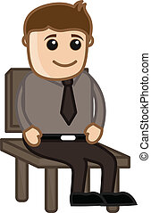 stoel, vector, -, bemannen zitting