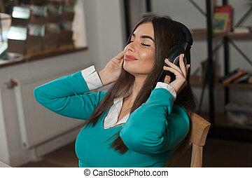 stoel, vrouw, headphones