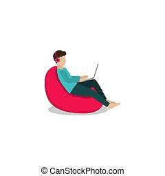 stoel, zittende , freelance, boon, vector, ontwerp, zak
