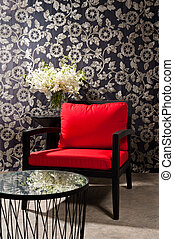 stoel, zwart rood
