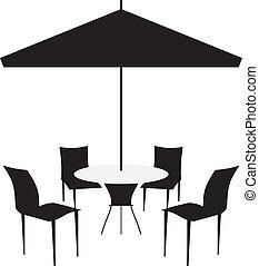 stoelen, baldakijn, terras