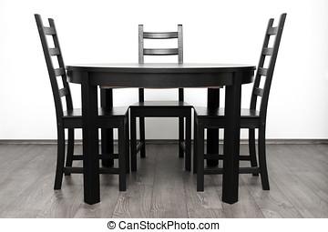 stoelen, bruine , interieur, om de tafel