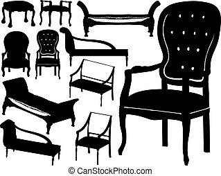 stoelen, groot, vector, verzameling