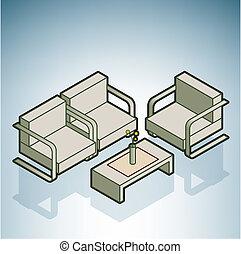 stoelen, het bureau van de ontvangst