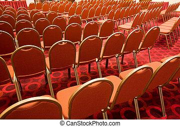 stoelen, in, zaal