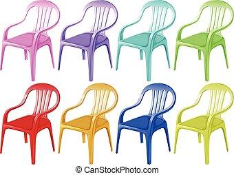 stoelen, kleurrijke, plastic