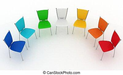 stoelen, kosten, groep, half-round