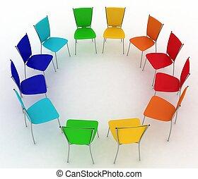 stoelen, kosten, groep, ronde