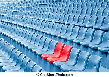 stoelen, lege, plastic