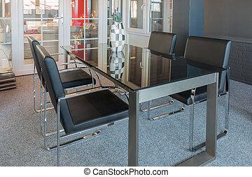 stoelen, moderne, glas tafel, toonzaal, winkel, meubel