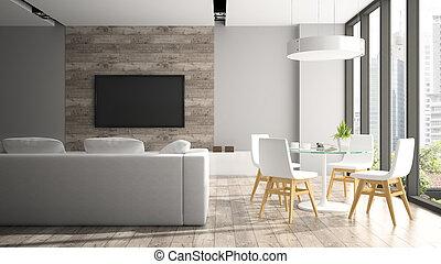 stoelen, moderne, vertolking, fout, interieur, witte , 3d