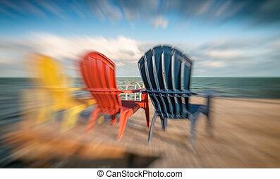 stoelen, ondergaande zon , verbazend, kleurrijke, aanzicht