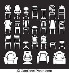 stoelen, set, iconen
