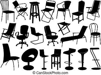 stoelen, set, illustratie