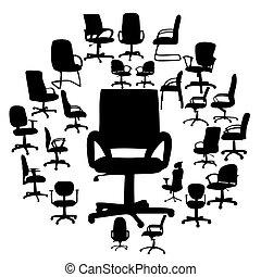 stoelen, silhouettes, vector, kantoor, illustratie
