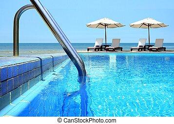 stoelen, strand, pool, zwemmen