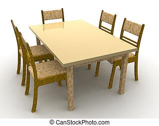 stoelen, tafel