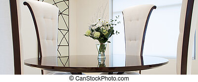 stoelen, tafel, ronde