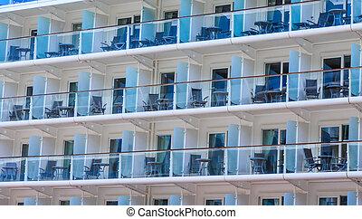stoelen, tafels, balkons