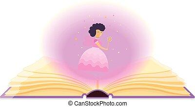 stof, boek, open, magisch, fairy.