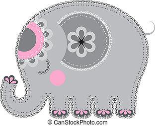 stoff, tier, cutout., elefant
