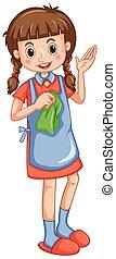 stoffa, piccola ragazza, pulizia