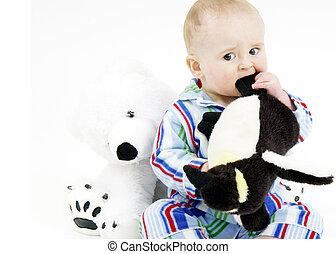 stofftiere, säugling, schlafanzug