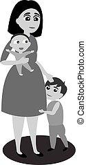 stoi, jej, zawiera, dwa, jeden, niezależnie, inny, ona, macierz, children., herb, j.