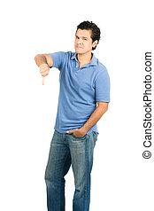 Stoic Emotionless Hispanic Male Thumb Down Full V - Hispanic...