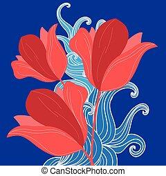 stok-vektor-red-flowers