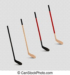 stokken ., voorbeelden, set, achtergrond., -, vrijstaand, illustratie, sporten, realistisch, ontwerp, ijs, vector., closeup, pictogram, transparant, hockey