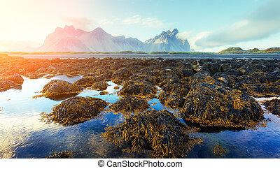 stokksnes, famoso, montañas