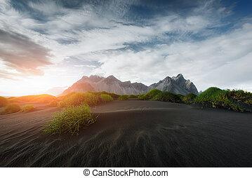 stokksnes, montañas, negro, desierto