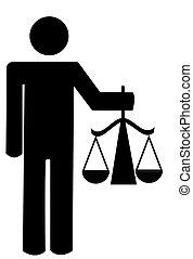 stokmens, vasthouden, schalen van gerechtigheid
