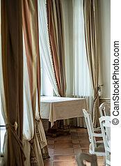 stol, bord, lyxvara, tom, restaurang