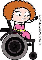 stol, dam, hjul, ung, tecknad film